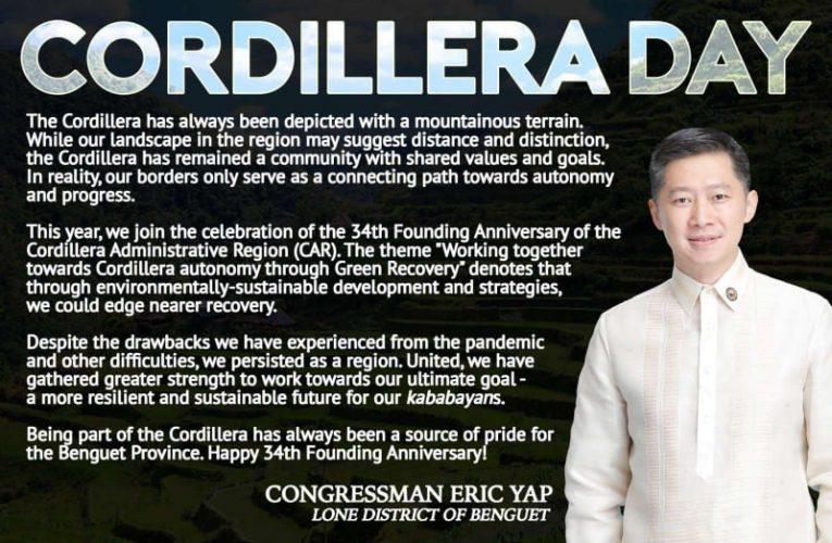 Benguet Congressman Eric Yap Message on the Celebration of Cordillera Day